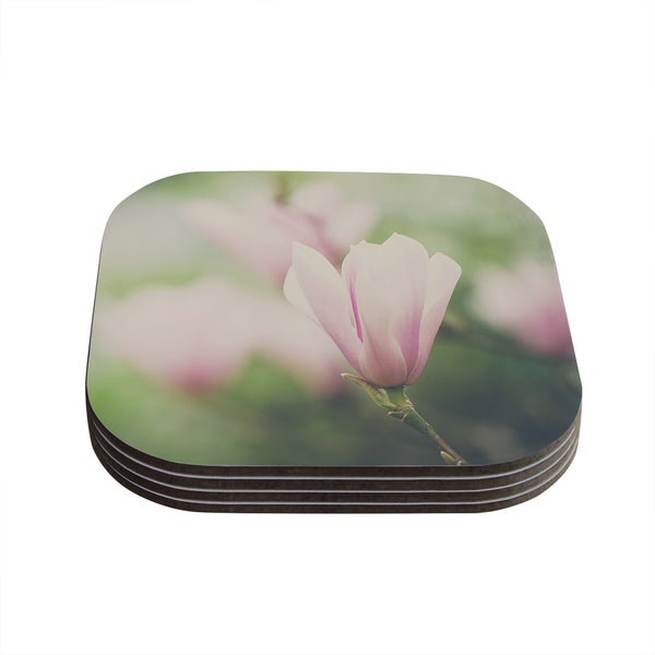 Kess InHouse Laura Evans 'A Pink Magnolia' Pink Green Coasters (Set of 4)
