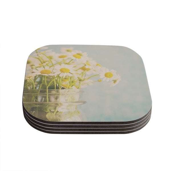 Kess InHouse Laura Evans 'O Daisy' Green Yellow Coasters (Set of 4)