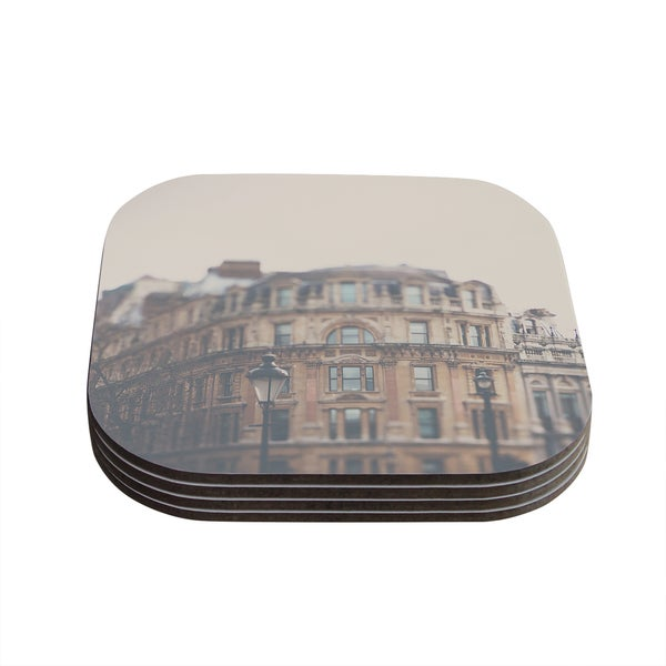 Kess InHouse Laura Evans 'London Town' Brown Coasters (Set of 4)