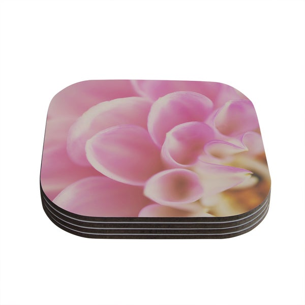 Kess InHouse Laura Evans 'Up Close & Personal' Pink Compressed Wood Pack of 4 Floral Coasters