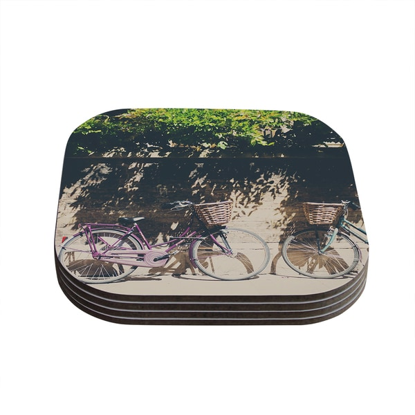 Kess InHouse Laura Evans 'Pretty Bicycles' Brown Green Coasters (Set of 4)