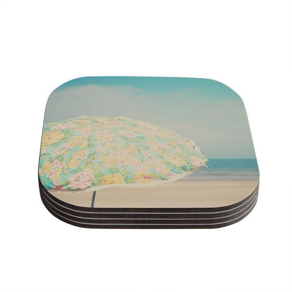 Kess InHouse Laura Evans 'A Summer Afternoon' Blue Teal Coasters (Set of 4)