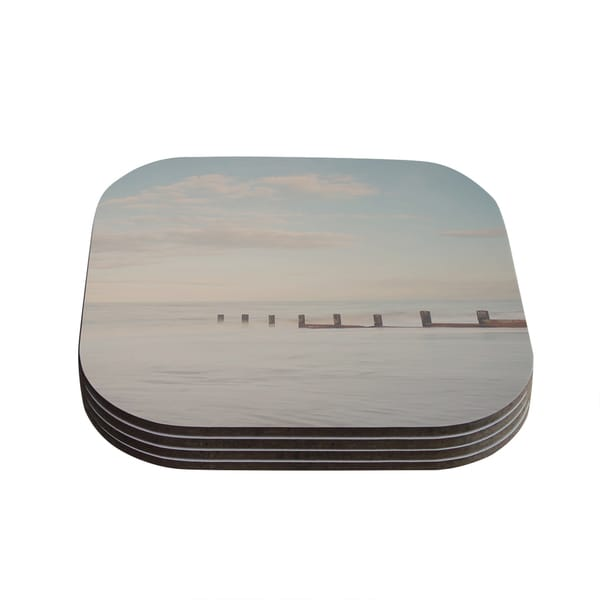 Kess InHouse Laura Evans 'The Rising Tide' Brown Gray Coasters (Set of 4)