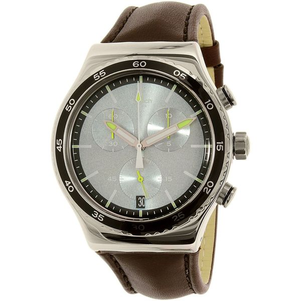 Swatch Men's YVS429 'Irony Stock Xchange' Chronograph Brown Leather Watch 18601934