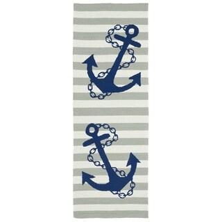 Indoor/Outdoor Beachcomber Anchor Grey Rug (2' x 6')