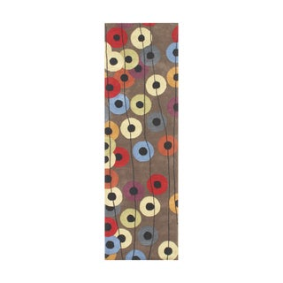 Alliyah Patterned Dotted Circles Wool Runner Rug (3' x 10')