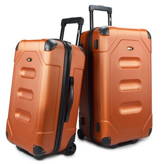 U.S. Traveler Long Haul ABS Plastic 2-Piece Hardside Cargo Trunk Luggage Set With Telescopic Handles