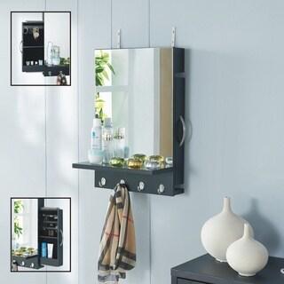 Danya B. Black Cabinet Mirror with Hidden Sliding Jewelry Door and Hanging Hooks