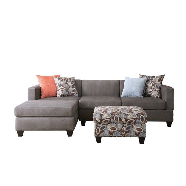 Small Space Reversible Grey Microfiber 3-piece Sectional Sofa with Floral Print Ottoman