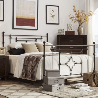 SIGNAL HILLS Rhodes Quatrefoils Iron Metal Bed with Footboard
