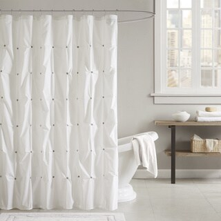 INK+IVY Masie White 100 Cotton Shower Curtain