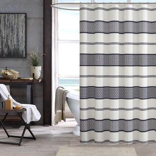 INK+IVY Kora Black 100-percent Cotton Shower Curtain