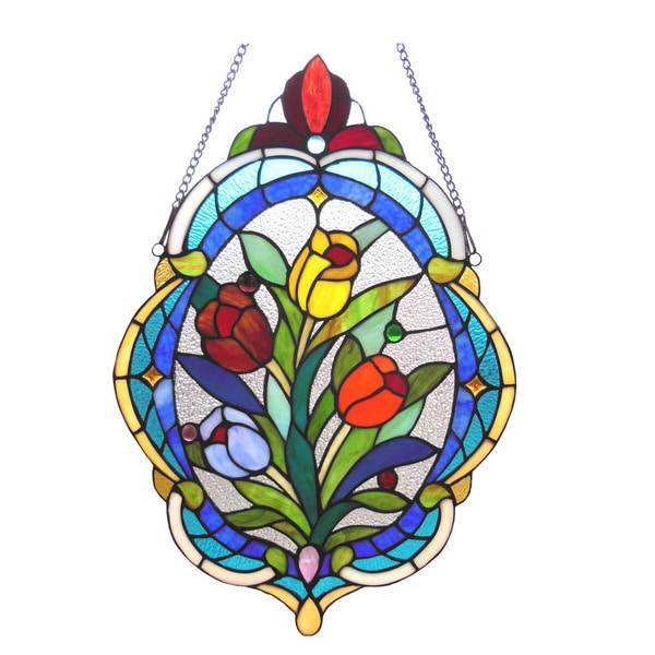 Chloe Tiffany Style Tulip Design Oval Window Panel 18604627