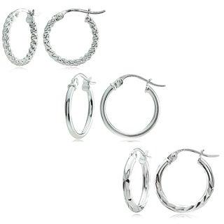 Mondevio Sterling Silver 3 Style Hoop Earrings, 15mm