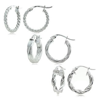Mondevio Sterling Silver 3-style 15 mm Twist Hoop Earrings Set