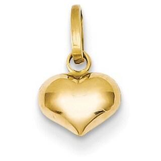 14k Yellow Gold Puffed Heart Charm
