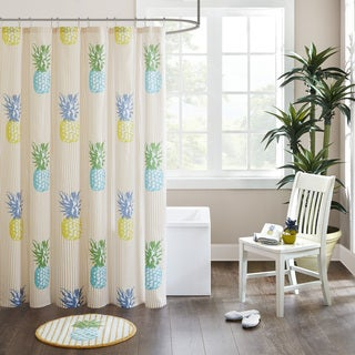 HipStyle Hana Yellow Cotton Printed Shower Curtain
