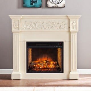 Upton Home Cameron Ivory Carved Infrared Electric Fireplace