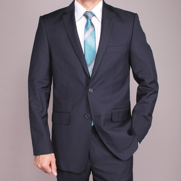 Men's Navy Blue 2-button Slim-fit Suit 42R/ 36W in Navy Blue (As Is Item)