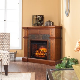 Upton Home Cavill Mission Oak Faux Stone Corner Infrared Fireplace