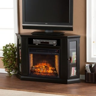 Upton Home Clement Black Convertible Media Infrared Fireplace