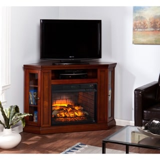Upton Home Clement Brown Mahogany Corner Media Infrared Fireplace