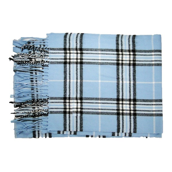 Cashmere-feel Blue New England Plaid Acrylic/Nylon 12-inch x 72-inch Scarf