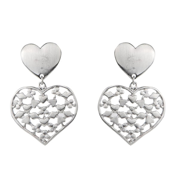 Silver Color Heart Earrings