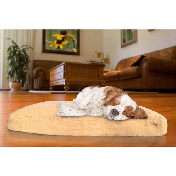 Furhaven NAP Camel/Espresso Suede Quilted Deluxe High Loft Fiber Dog Bed