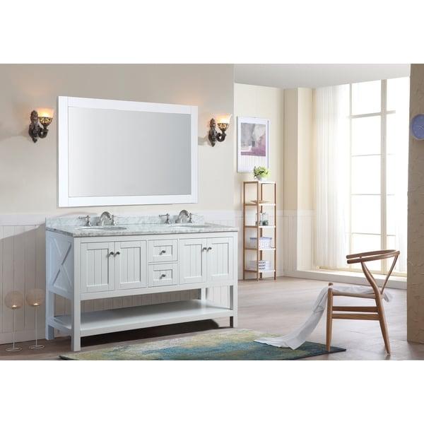 Ari Kitchen and Bath Emily White 60-inch Double Bathroom Vanity Set With Mirror