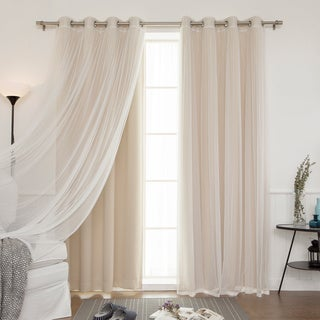Aurora Home Mix and Match Blackout and Tulle Lace Sheer 4-piece Silver Grommet Curtain Set