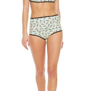 Bra Society Women's Pineapple High-waisted Style Neoprene Bikini Bottom