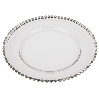 Silver Beaded Rim 13-inch Glass Charger