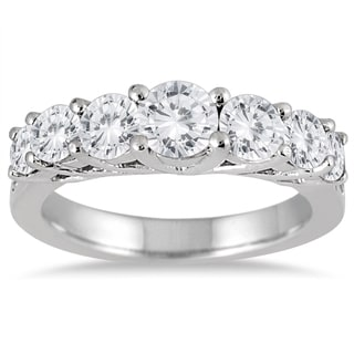 Marquee Jewels 10k White Gold 1 1/3ct TDW Diamond Seven Stone Ring (I-J, I2-I3)