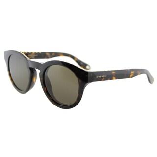 Givenchy GV 7007 086 studded Havana Plastic Round Grey Gradient Lens Sunglasses