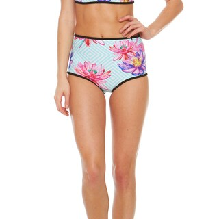 Bra Society Women's Tropical Blue Floral Neoprene/Nylon High-Waisted Bikini Bottom