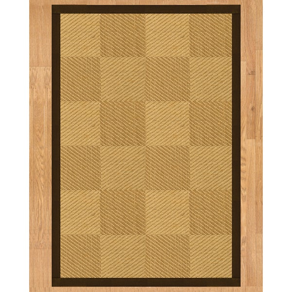 Handcrafted Osaka Natural Sisal Rug - Dark Brown Binding, 2' x 3'