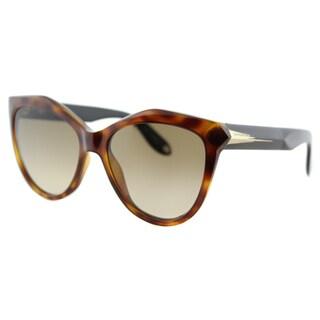 Givenchy GV 7009 QON Havana Black Plastic Cat-Eye Brown Gradient Lens Sunglasses