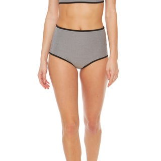 Bra Society Women's Heather Grey Neoprene High-waisted Bikini Bottom