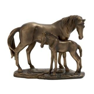 Brown Horses Statue by Benzara
