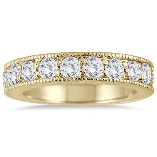 Marquee Jewels 10k Yellow Gold 1 Carat TDW Diamond Antique Engraved Band (I-J, I2-I3)