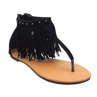 Fresty Women's Black/Taupe Faux-leather Fringed Sandals