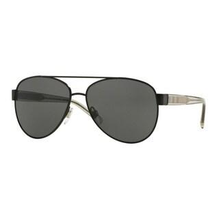 Burberry Women's BE3084 100787 Black Metal Pilot Sunglasses