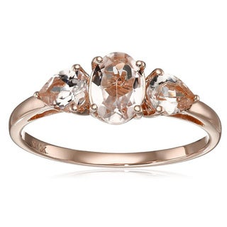 10k Rose Gold Morganite Oval and Pear Three-Stone Ring
