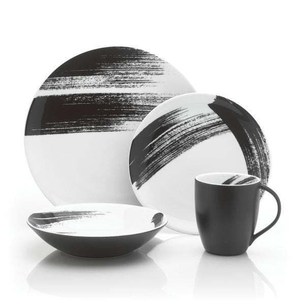 Mikasa Brushstroke Black/White Porcelain Round 4-piece Place Setting