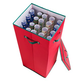 Elf Stor Red Premium Christmas Wrapping Paper Storage Box With Lid
