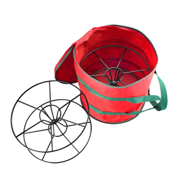 Elf Store Red Fabric/Metal Premium Christmas Light Storage Bag & Steel Reels Holds 2x100-foot Strands