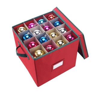 Elf Stor Red/Green Fabric Christmas Ornament Storage Chest With Dividers for 64 Balls