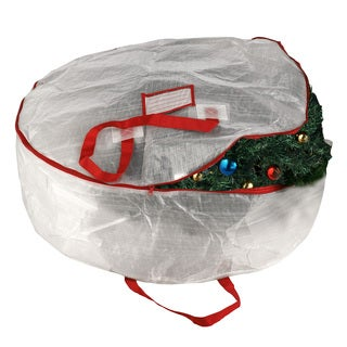 Elf Stor White Polypropylene Deluxe Holiday Wreath Storage Bag