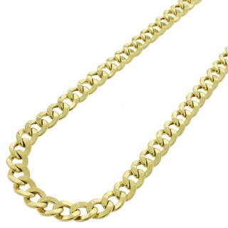 14k Yellow Gold 6.5 mm Hollow Cuban Curb Link Chain Necklace
